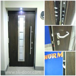 Двері Hörmann Thermo65 в мотиві 700 та кольорі Нічний дуб (Night Oak).