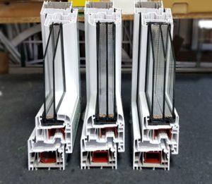 На фото предствлена профільна система Саламандер серія Стрімлайн зі склопакетами товщиною 24, 40 та 48мм