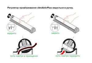 Ручной режим работы приточного клапана climAktivPlus.